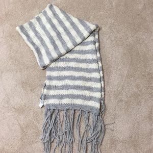 Aerie grey and cream striped scarf.